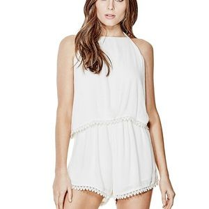 NWT guess Evanee crochet romper size small white